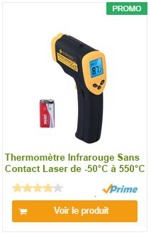 Thermomètre Infrarouge Sans Contact Laser-de -50°C à 550°C avec Ecran LCD